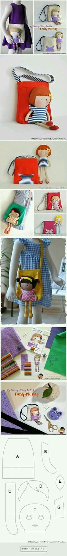 Bolso doll carrier shoulder bag for girls travel or school! Or for boys! My son would love one to carry his beloved studded lion in