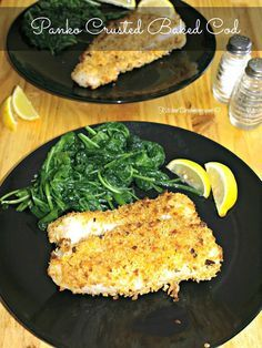 Lower Excess Fat Rooster Recipes That Basically Prime Panko Crusted Baked Cod Fish Gives The Fish A Nice Crunch While Keeping The Fish Moist And Flaky Cod Fish Recipes, Seafood Recipes, Cooking Recipes, Healthy Recipes, Salmon Recipes, Diet Recipes, Baked Cod Recipes, Tilapia Recipes, Cooking Games