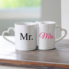 Great Gift Idea for The New Bride & Groom or Anniversary Couple -  Mr. & Mrs. Coffee Mug Set. Cute! $26.88   www.ceceliasbestwishes.com