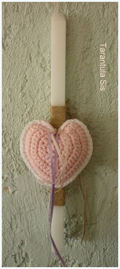 Crochet heart. Easter candle decoration. Πασχαλινή λαμπάδα με πλεκτή καρδιά.