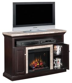 Corner Electric Fireplace TV Stand with Cabinet in Black | Corner ...