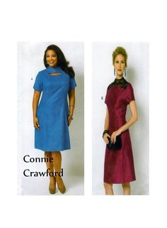 Butterick 5827, CONNIE CRAWFORD,  Aline, Day Dress, Sewing Pattern, Princess Seams, Short Sleeve, Raised Collar, Size XSml to X Lrg, UNCUT by FindCraftyPatterns on Etsy