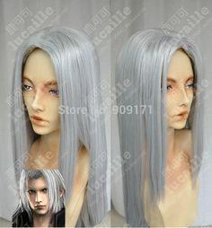 Freies Verschiffen *** Final Fantasy Sephiroth COS perücke Neue Lange Silber grau Cosplay Gerade perücken 100 CM in  [      Features]          1. Alle Perücken sind durch professionelle Facharbeiter! 2. Es ist eine leichteste Netting Ka aus Synthetische Perücken auf AliExpress.com | Alibaba Group