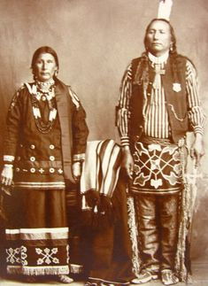 An old photograph of a Ponca Man and Wife c1890.