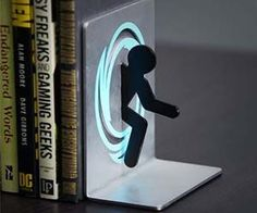 books, geeky decor, bookends, book characters, geeky home decor, geek home office, portal bookend, bookend portal, christmas gifts