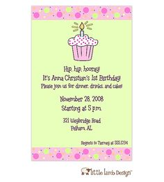 Cupcake 1st birthday party invitations cupcake invitations and 1st birthday cupcake invitation filmwisefo
