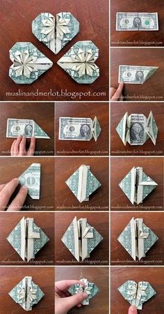 Lesen Sie mehr über Origami-Projekte The Effective Pictures We Offer You About DIY Graduation cake A quality picture can tell you many things. You can find the most beau Design Origami, Diy Origami, Origami Jewelry, Origami Paper, Origami Money Flowers, Oragami Money, Origami With Money, Diy Money Lei, Money Origami Heart