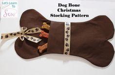 Dog Bone Christmas Stocking Sewing Pattern