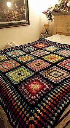 Crochet Granny Square Afghan, Crochet Blocks, Granny Square Crochet Pattern, Afghan Crochet Patterns, Crochet Squares, Granny Squares, Crochet Afgans, Knit Or Crochet, Crochet Motif