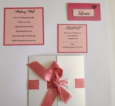 Beautiful Strawberry Pink Wedding Invitation Set, Includes all seen. Pink Wedding Invitations, Wedding Stationary, Wishing Well, Special Day, Rsvp, Place Cards, Custom Design, Strawberry, Place Card Holders