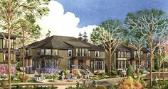 A rendering of the recently completed new executive family townhouses in North Vancouver's Central Lonsdale Avondale property development.