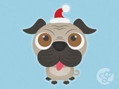 Christmas Pug by Emma Lemon