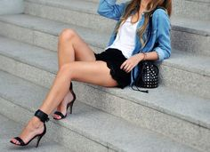 black lace shorts with denim shirt