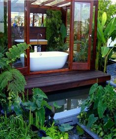 Indoor and outdoor bathtub, slide the door open and you got yourself an outside . Indoor and outdoor bathtub, slide the door open and you got yourself an outside tub of bubbles. Outdoor Bathtub, Outdoor Bathrooms, Dream Bathrooms, Beautiful Bathrooms, Outdoor Showers, Bathtub Dream, Custom Bathrooms, Sunken Bathtub, Big Bathtub