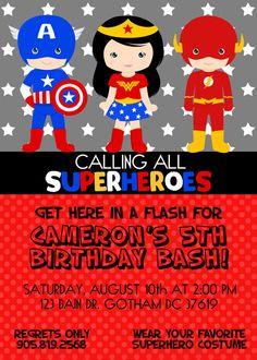 Wonder Woman Party Invitations