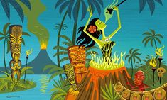 On Friday, October at the opening reception for The Art of Tiki at Los Feliz's La Luz de Jesus Gallery, enjoy works from SHAG & other tiki artists. Tiki Hawaii, Hawaiian Tiki, Retro Kunst, Retro Art, Tiki Art, Tiki Tiki, Tiki Decor, Jungle Art, Tiki Lounge