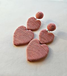 Silk wrapped double heart earrings/ LIGHT PINK color CORA double heart Les bonbons style/New trend/ Bonbons earrings/beaded heart earrings Play Clay, Light Pink Color, Silk Wrap, Heart Earrings, Crochet Motif, Polymer Clay Jewelry, Piercing, Jewelry Box, Cricut