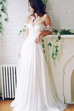Princess Wedding Dresses, White Wedding Dresses, Long Wedding Dresses With Lace Sleeveless Off-the-Shoulder WF01G49-494
