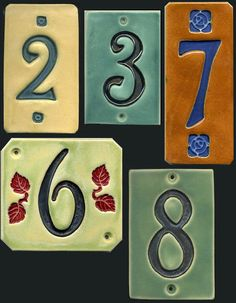 Handcrafted Four Digit Ceramic House Number Tile Address Plaque Craftsman Style House Address, Address Plaque, Address Signs, Ceramic House Numbers, Tile House Numbers, Door Numbers, Address Numbers, Ceramic Houses, Thing 1