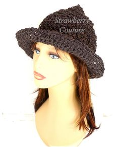 Crochet Sun Hat for Women Floppy Sun Hat Floppy Hat Brown Womens Hat Womens Crochet Hat Wide Brim Hat Shady Lady by strawberrycouture Crochet Hat Size Chart, Diy Crochet Hat, Crochet Hat With Brim, Crochet Hat For Women, Irish Crochet, Crochet Blouse, Crochet Poncho, Crochet Beanie, Floppy Sun Hats