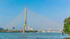 4K Timelapse Rama VII Bridge, Bangkok Thailand. Cityscape, The popular transportation in the crowd  city by river. One choice for avoid traffic jam. Industrial Travel & transportation background.