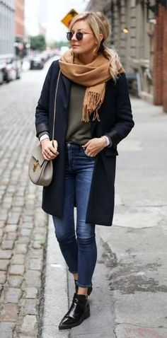 fashion trends / nude scarf + sweater + black coat + bag + skinny jeans + boots