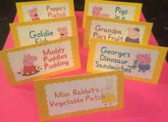 Peppa Pig Food Labels Table Tent Cards by OnceUponACrafterxo