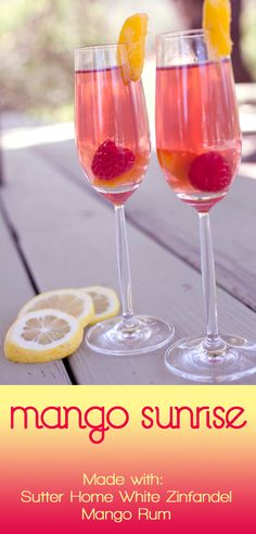 reception drink? Mango Sunrise, made with Sutter Home White Zinfandel and mango rum