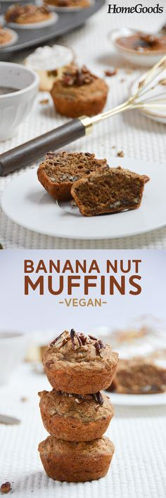Give these amazing vegan banana nut muffins a try!  Almost all of the ingredients are available at HomeGoods in our Wellness Gourmet section!