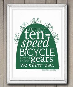 Bicycle Quote Print Motivational Typographic Poster by SamOssie, Bicycle Quotes, Cycling Quotes, Motivational Phrases, Inspirational Quotes, Wind In My Hair, Typographic Poster, Typography, Interesting Quotes, Bike Art