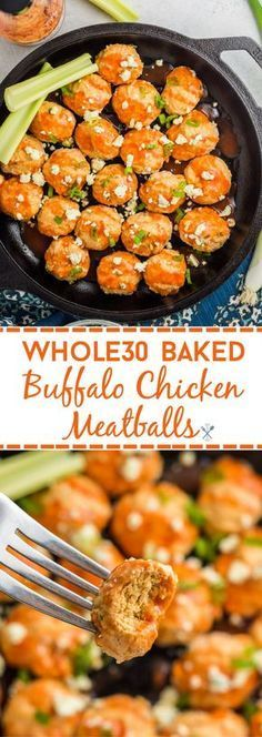 Baked Buffalo Chicken Meatballs This one-pot, 30 minute meal is the perfect dinner! This simple, paleo recipe is for every buffalo chicken lover.This one-pot, 30 minute meal is the perfect dinner! This simple, paleo re Paleo Recipes Easy, Clean Eating Recipes, Whole Food Recipes, Diet Recipes, Healthy Eating, Cooking Recipes, Recipes Dinner, Cooking Tips, Paleo Food