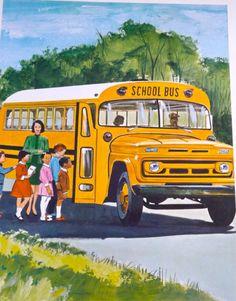 Teaching Pictures Bus Transportation School Childrens Poster Childrens School Art