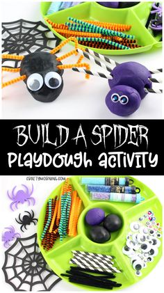 Build a spider playdough activity! Fun halloween playdough game for kids to do. Sensory play with spooky spiders ! Imagination play - great classroom sensory table activity. #halloween #halloweenfun #halloweenactivities #playdoughactivities #buildaspider #halloweenactivities
