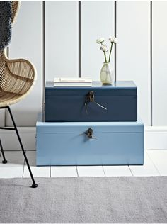 Two Metal Trunks - Light and Dark Blue