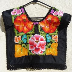 Vintage Mexico Oaxaca Embroidered BlkSatin SMALL Huipil blouse - Frida Kahlo Style. $145.00, via Etsy.