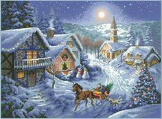 Joy Sunday Cross Stitch Kits Counted Dusk in The Snow or Easy Patterns Embroidery for Girls Crafts DMC Cross-Stitch Supplies Needlework Scenery Series Christmas Scenery, Winter Scenery, Country Christmas, Christmas Pictures, Cross Stitch Love, Cross Stitch Kits, Cross Stitch Patterns, Winter Holidays, Winter Christmas