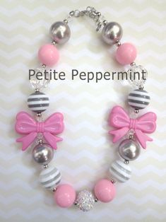 Girls Chunky Necklace, Girls Bubblegum Chunky Necklace, Pink Chunky necklace,Girls Bubble Gum Bead Necklace,Children Necklace on Etsy, $7.95