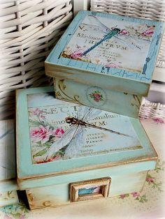 Krabičky - Vintage dragonfly krabičky - 4631553_