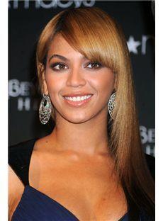 Fantastic Medium Brown Female Beyonce Knowles' Wigs 100% Human Hair
