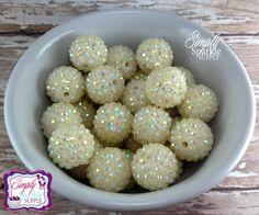 Ivory rhinestone chunky bead bubblegum bead necklace chunky necklace wholesale 20mm beads