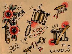 Traditional Tattoo Flash | Razor and Tattoo Machine Flash Sheet by ParlorTattooPrints on Etsy