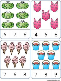 Summer Count and Clip Cards- Summer Count and Clip Cards quantidade - Kindergarten Math Worksheets, Preschool Learning Activities, Math Classroom, Preschool Activities, Teaching Kids, Math Math, Numbers Preschool, Math Numbers, Montessori Math