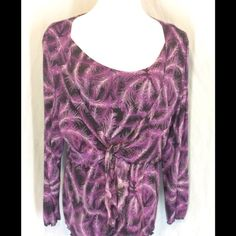 NWOT Style&Co. Faux 2 Pc. Blouse New without tags, no defects. Looks like a tank with a long sleeve tie in front crop over the top. Purple, lavender and Black colors.  100% Nylon. Lined except for the sleeves. Bust 24 inches flat. Length 26 inches. Style & Co Tops Blouses