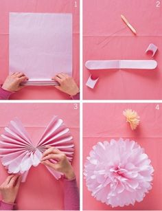DIY Party Decorations  These might be easier to make than the cupcake papers and coffee filters decor.  If the ceilings are not too tall we could do this in Red, White, and Silver