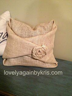 Lovely Again...Burlap covered pillow