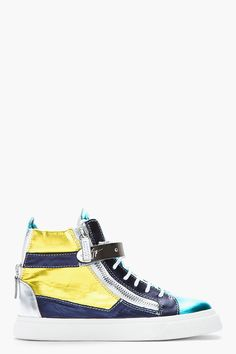 Giuseppe Zanotti Metallic Teal And Yellow London Donna Sneakers -  Giuseppe Zanotti Metallic Teal And Yellow London Donna Sneakers Giuseppe Zanotti High top leather sneakers in metallic yellow. teal. purple. and silver. Round toe. Silver tone hardware. White lace up closure. Zip closure at eyerow. Silver leather logo patch at bellows tongue. Signature metal...