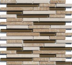 Linear Gl Stone Mosaic Tile Taupe Is A Combination Of Natural And Tiles In Staggered Pattern Mesh Mounted On 12x12 Interlocking