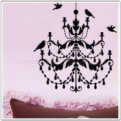 So CUTE for Julia's room!!   Birdie Chandie  Chandelier Wall Decal by Decorette on Etsy, $30.00