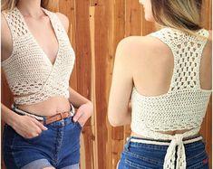 "Easy crochet PDF top pattern, Patron crochet, GIOIA crochet halter top, Crochet pattern, Crochet top pattern, Bust 30""- 44"" Sizes S-M-L-XL"