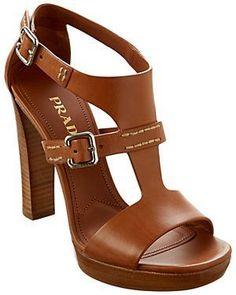 Prada Leather Stacked Heel Sandal/Dorothy Johnson #brownsandalsheels